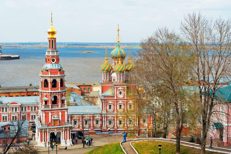 Церковь Stroganov взгляда в Nizhny Novgorod стоковые фотографии rf