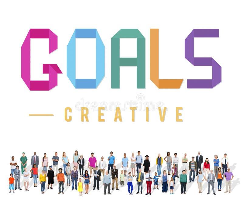 Цели направляют Motivative концепцию воодушевленности зрения цели стоковые изображения