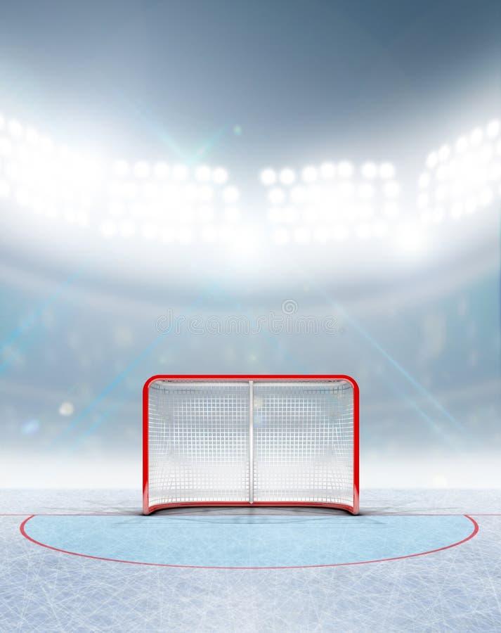 Цели хоккея на льде в стадионе иллюстрация вектора