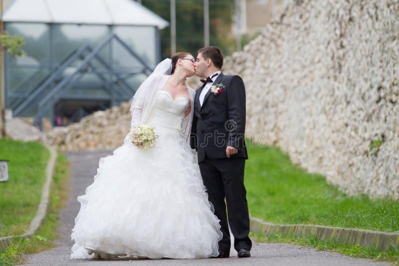 Целовать пар свадьбы стоковые изображения