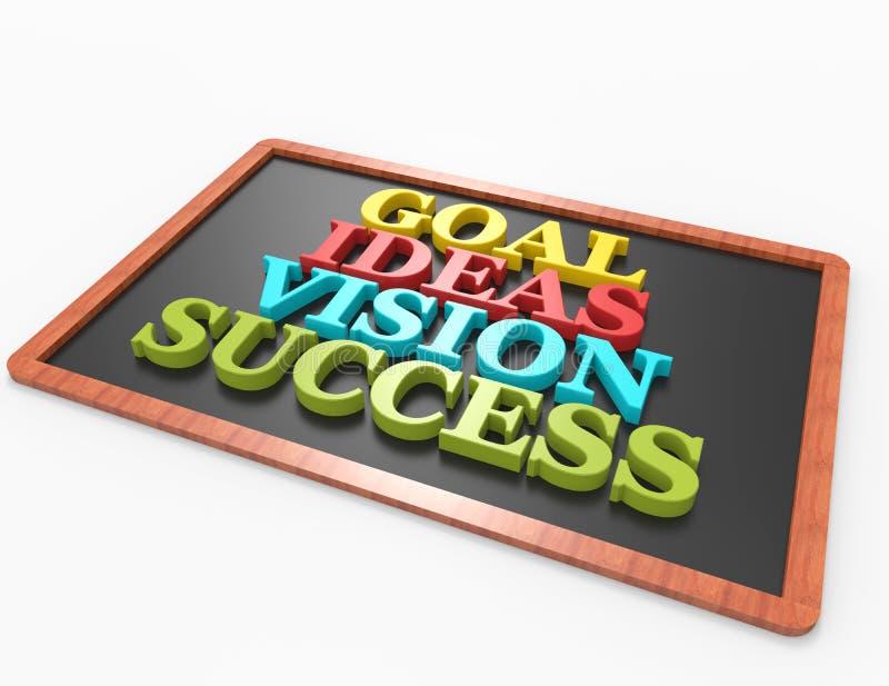 Цель, идеи, зрение, успех, концепция слова 3d иллюстрация штока
