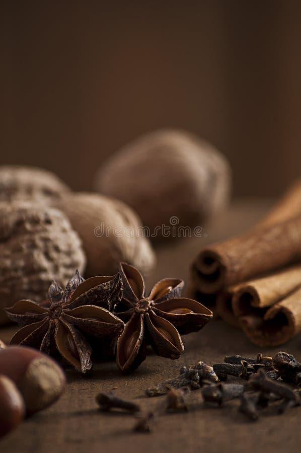 циннамон рождества анисовки варя ингридиенты spices ручки звезды стоковые изображения