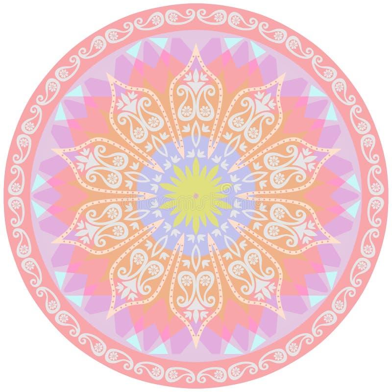 Циновка йоги с мандалой цветка и картиной Пейсли лавр граници покидает вектор шаблона тесемок дуба иллюстрация штока