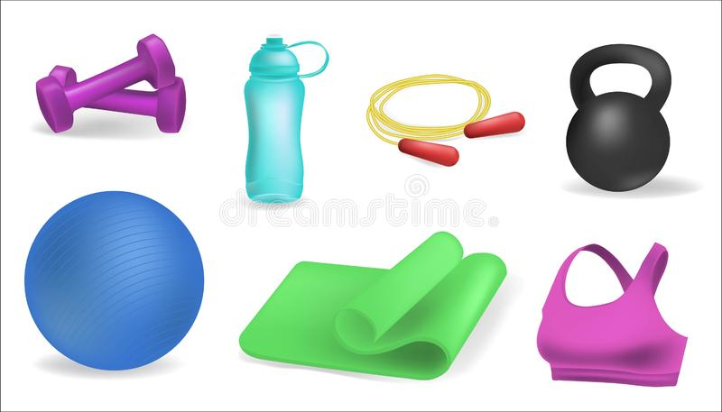 Циновка йоги Clipart, шарик фитнеса, бутылка с водой спорт, гантели Установленные знамена фитнес-центра горизонтальные Оборудован иллюстрация вектора