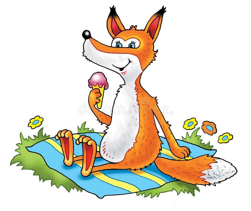 Циновка потехи сказа мороженого Fox иллюстрация вектора