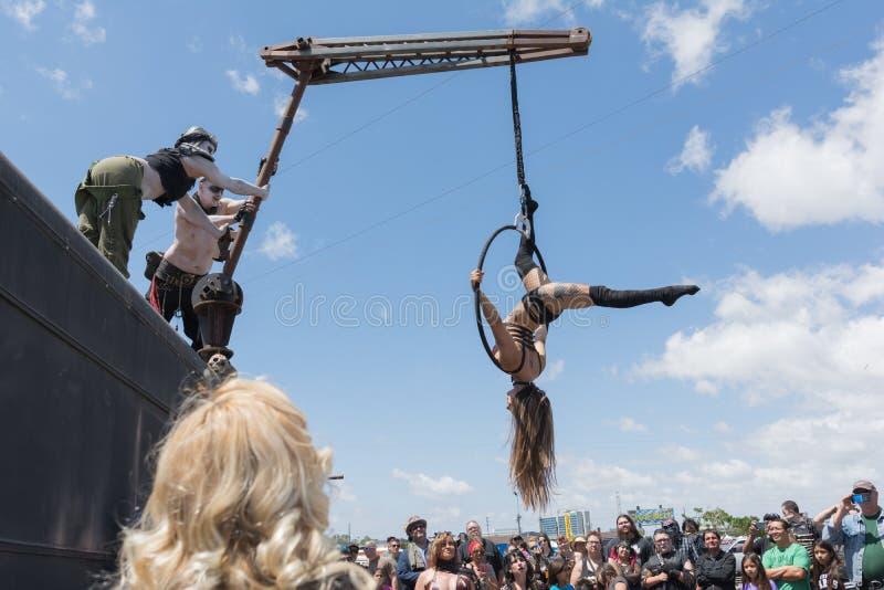 Циркаческий выполнять девушки стоковое изображение rf