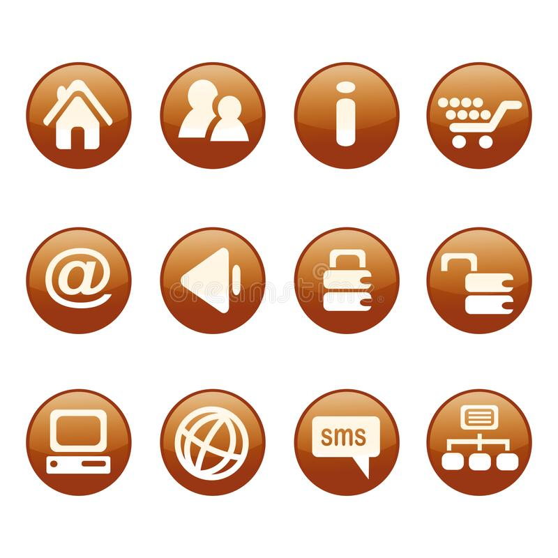 Циркуляр, белый на оранжевом комплекте значка сети UI 12 значка Изолировано на белизне бесплатная иллюстрация