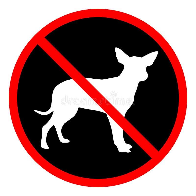 Циркуляр, ` никакие любимчики позволил знаку ` Красный знак, силуэт белой собаки малый на черноте бесплатная иллюстрация