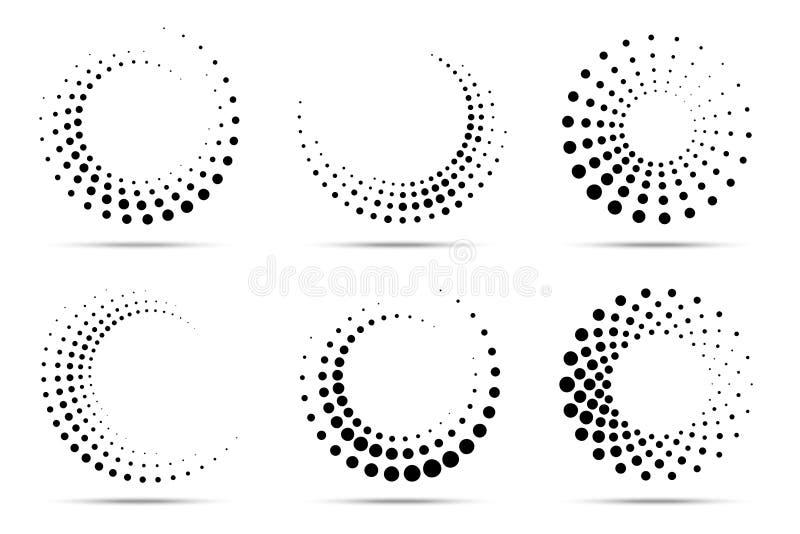 Циркуляр полутонового изображения поставил точки набор рамок Точки полутонового изображения круга изолированные на белой предпосы бесплатная иллюстрация