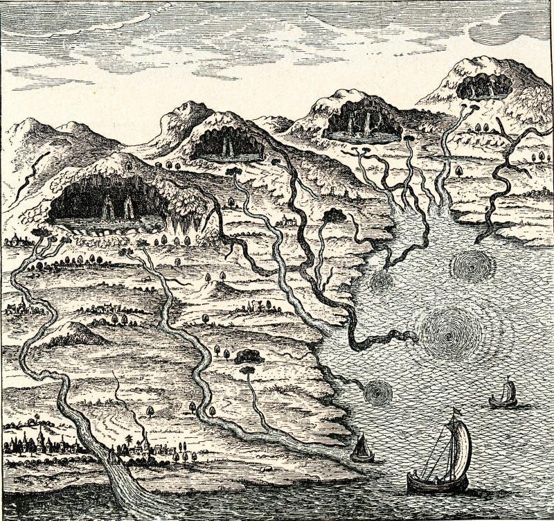 циркуляция воды между морем и горами, гравировка винтажа иллюстрация вектора