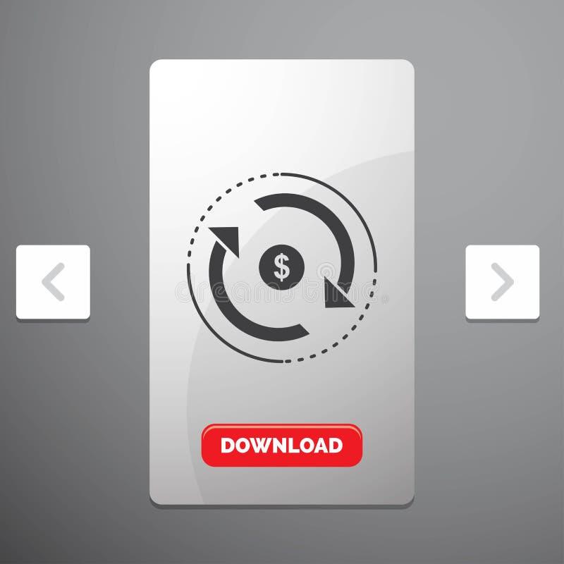 Циркуляция, финансы, подача, рынок, значок глифа денег в дизайне слайдера пагинаций Carousal & красная кнопка загрузки иллюстрация штока