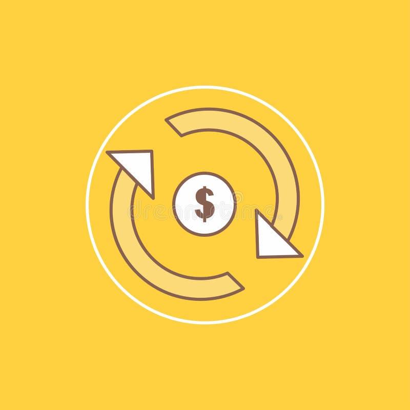 Циркуляция, финансы, подача, рынок, линия денег плоская заполнила значок Красивая кнопка логотипа над желтой предпосылкой для UI  иллюстрация вектора