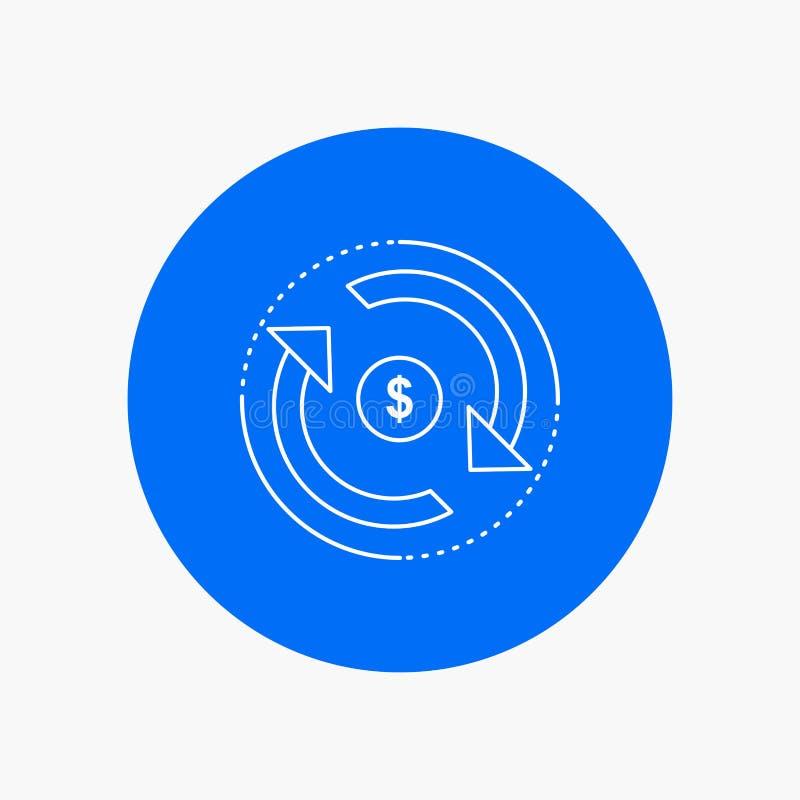 Циркуляция, финансы, подача, рынок, линия значок денег белая в предпосылке круга r бесплатная иллюстрация