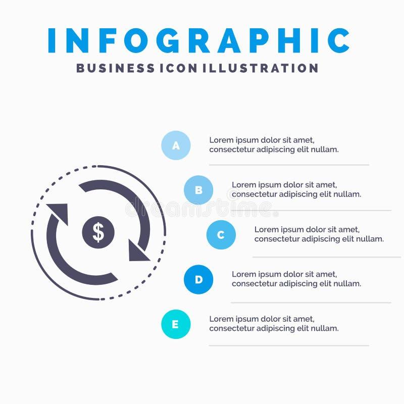 Циркуляция, финансы, подача, рынок, шаблон Infographics денег для вебсайта и представление r иллюстрация штока