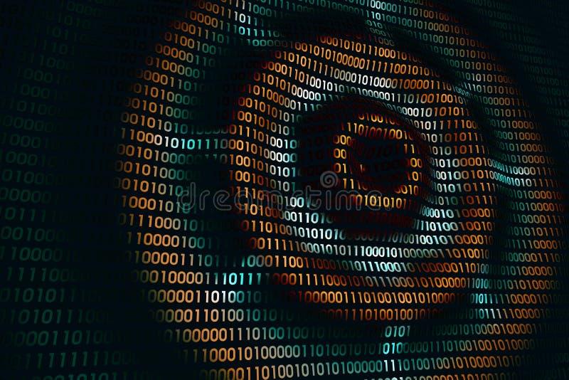Циркуляр развевает на абстрактной цифровой стене в виртуальном пространстве, бинарной предпосылке технологии иллюстрация штока