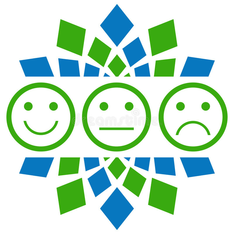 Циркуляр улыбки нейтральный унылый зеленый голубой иллюстрация штока