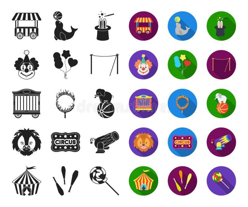 Цирк и атрибуты черные, плоские значки в установленном собрании для дизайна Иллюстрация сети запаса символа вектора искусства цир иллюстрация штока