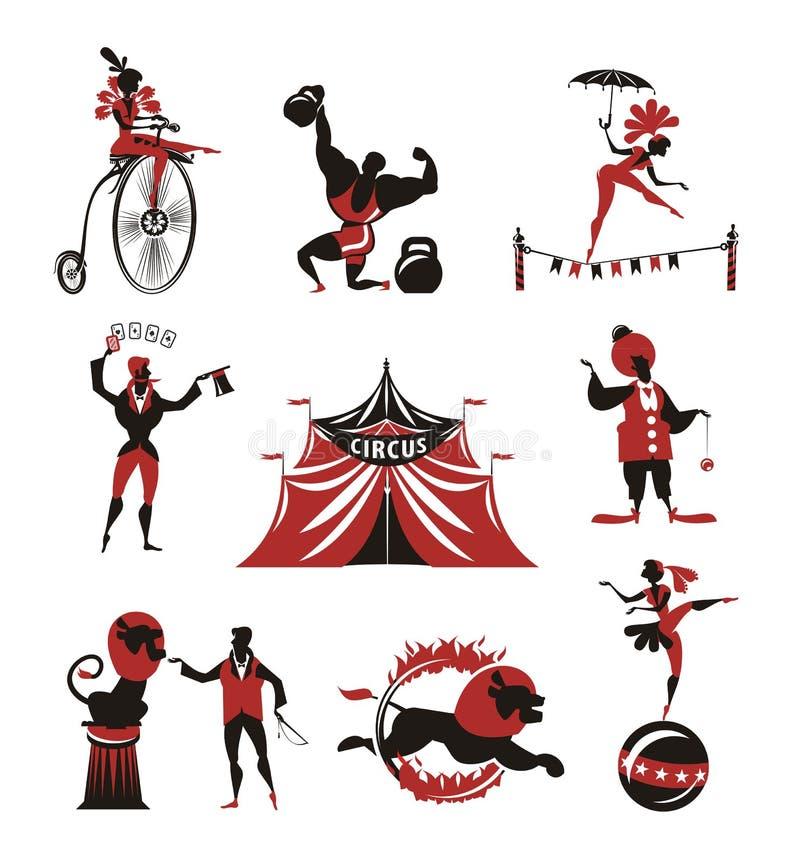 Цирк. Собрание значков бесплатная иллюстрация