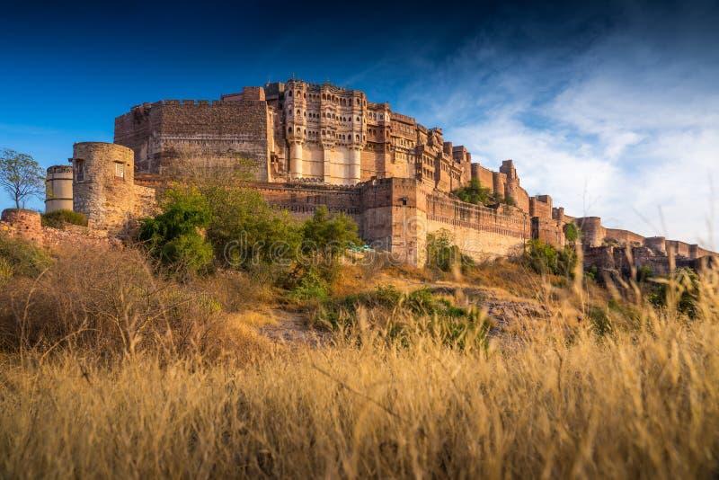 Цитадель Mehrangarh в Jodphur, Раджастхане, Индии стоковое изображение rf