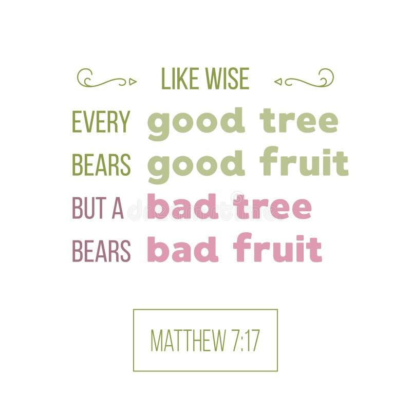 Цитата библии от matthew, хорошее дерево носит хорошее typograph плодоовощ иллюстрация штока