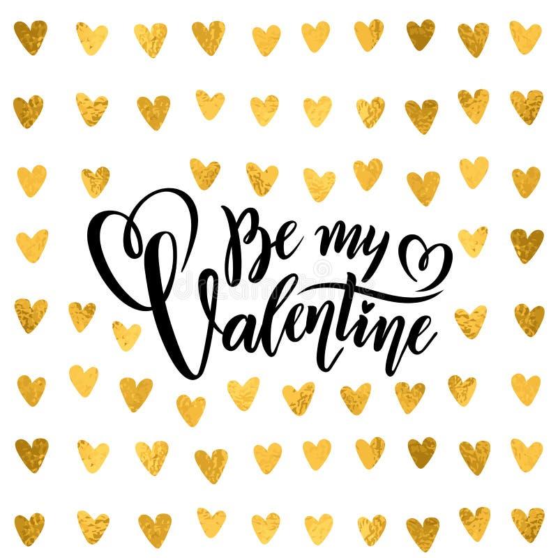 Цитата золотой фольги вектора рукописная помечая буквами моя картина золота сердец дня Святого Валентина текста каллиграфии Вален бесплатная иллюстрация