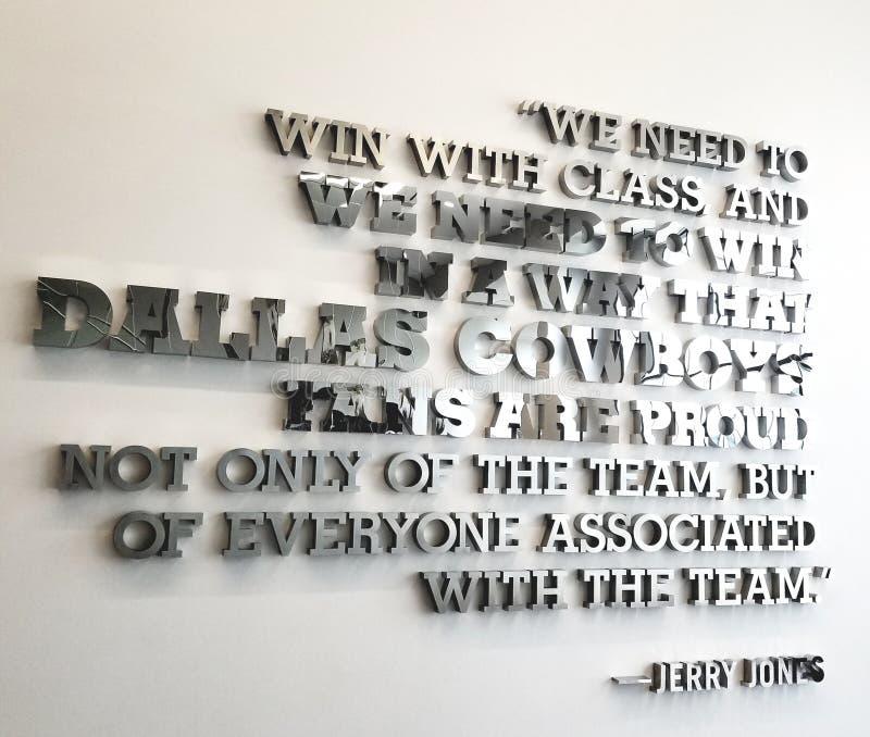 Цитата команды ковбоев Джерри Джонса Даллас вдохновляющая футбол звезды стоковое изображение rf