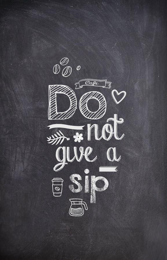 Цитата кофе написанная с мелом на черной доске иллюстрация штока