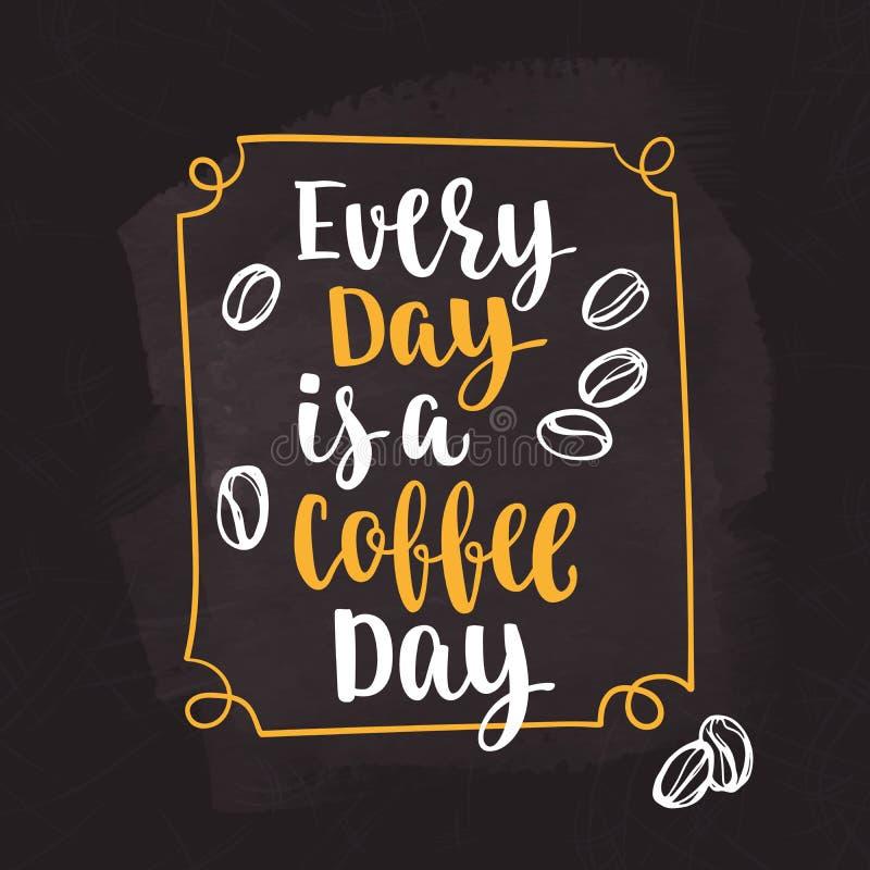 Цитата кофе иллюстрация штока