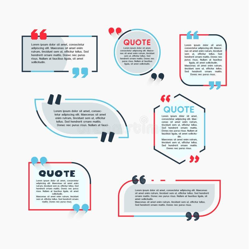 Цитата клокочет - современный комплект цвета вектора форм с текстом иллюстрация штока