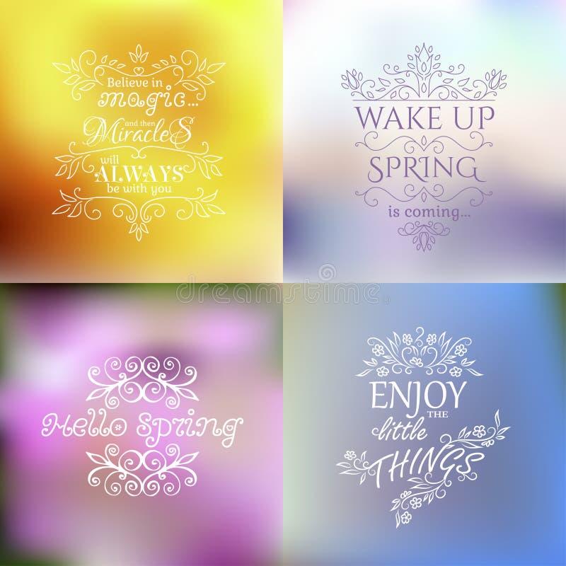 Цитаты весны на несосредоточенной красочной предпосылке бесплатная иллюстрация