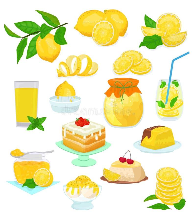 Цитрусовые фрукты вектора еды лимона lemony желтые и свежий комплект лимонада или естественных сока иллюстрации торта лимона с ва иллюстрация штока