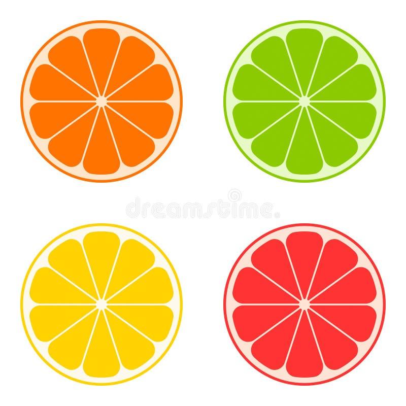 Цитрус значка: апельсин, известка, лимон, грейпфрут вектор иллюстрация штока