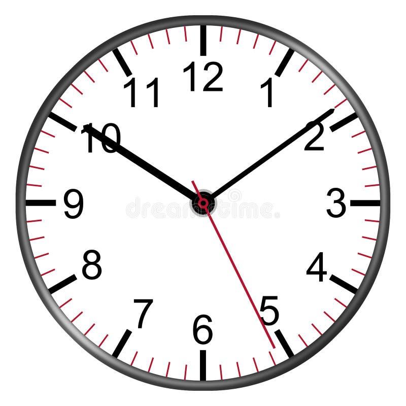 Циферблат с часовыми стрелками иллюстрации номеров вторыми мельчайшими иллюстрация штока