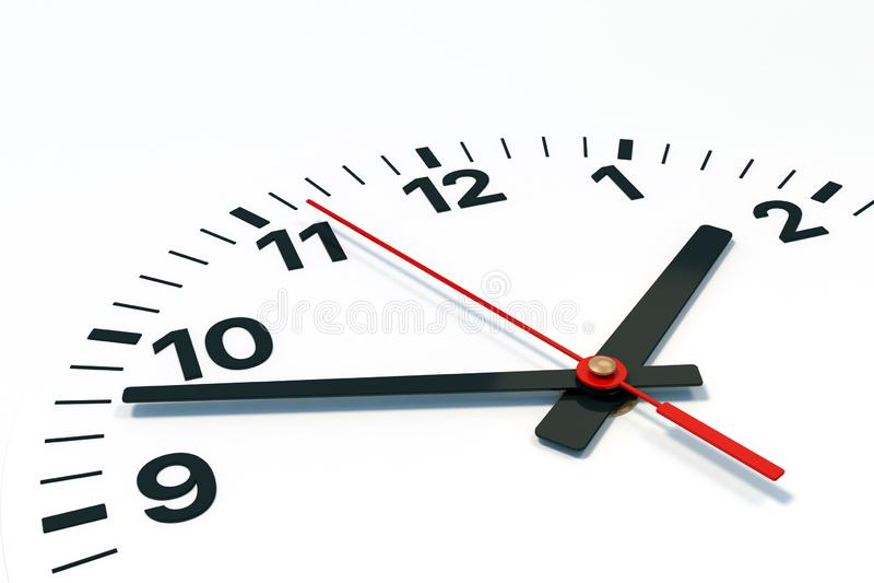 Циферблат с часом, минутой и вторыми руками иллюстрация штока