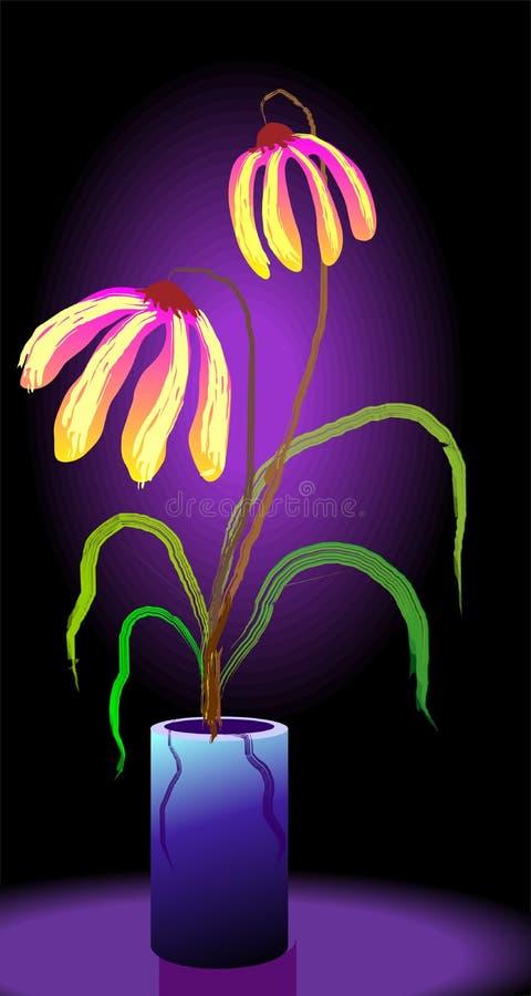 цифровая ваза картины цветка иллюстрация вектора