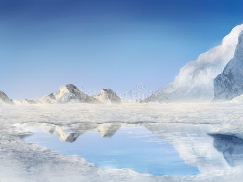 цифровая, котор замерли картина озера стоковая фотография