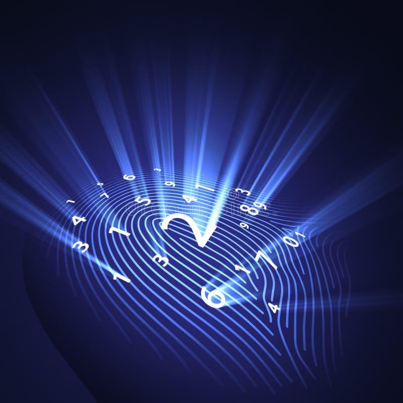 цифровая обеспеченность фингерпринта иллюстрация вектора
