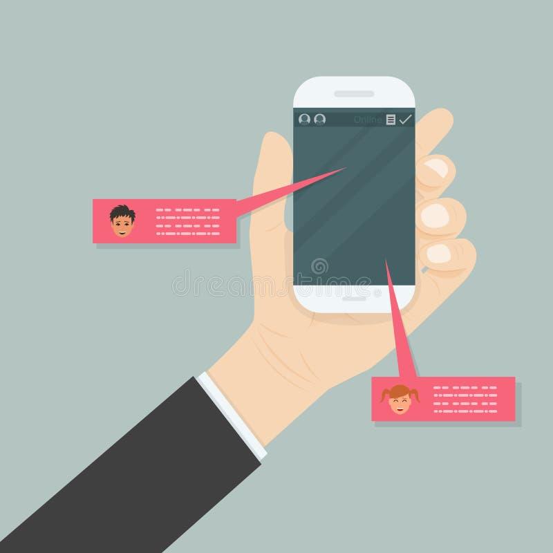 цифровая посылка мобильного телефона удерживания руки формы электронной почты принципиальная схема цифрово произвела высокий soci иллюстрация штока
