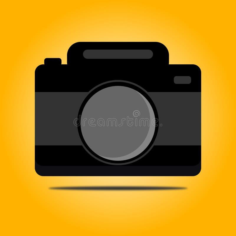 Цифровая фотокамера печати с оранжевой предпосылкой иллюстрация штока