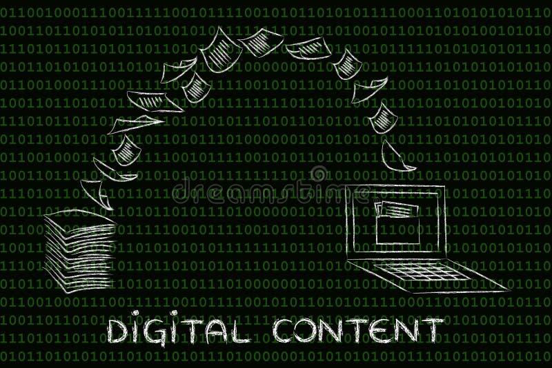 Цифровое информационное наполнение: бумага скеннирования и поворачивать ее в данные иллюстрация штока