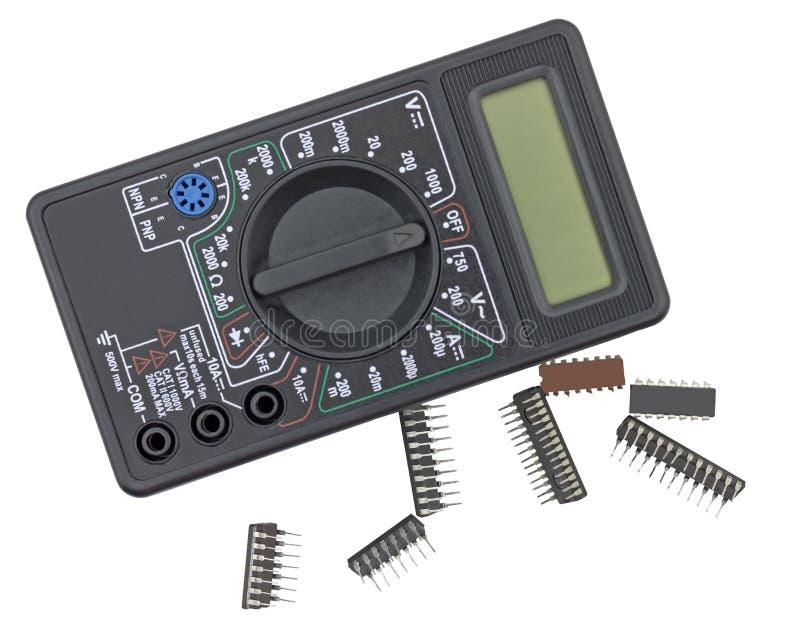 Цифровой вольтамперомметр и компоненты радио стоковое фото rf