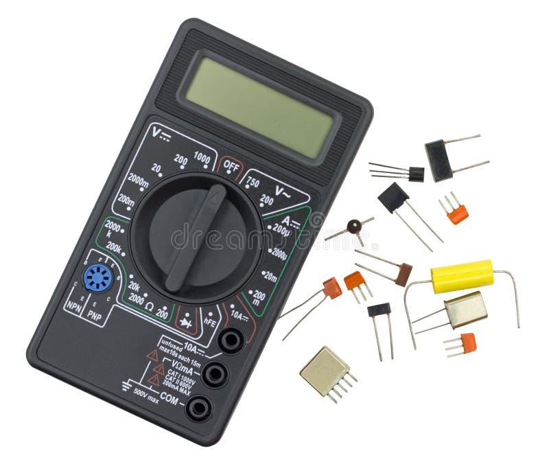 Цифровой вольтамперомметр и компоненты радио стоковые фотографии rf