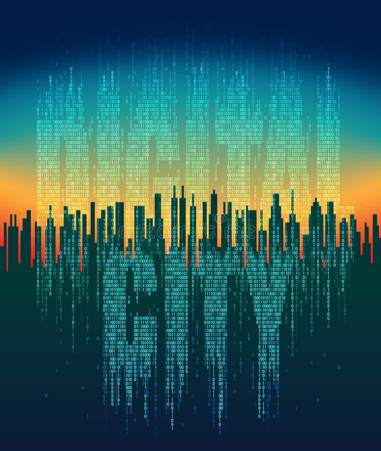 Цифровой город Абстрактный футуристический город, жизнь в виртуальном космосе, обслуживание облака, высокотехнологичная предпосыл иллюстрация вектора