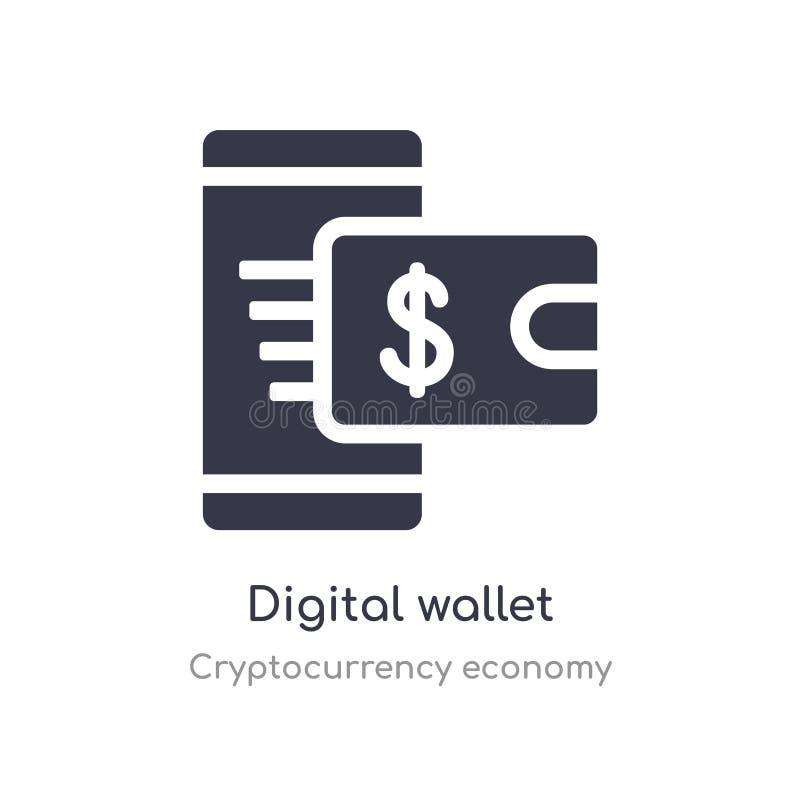 цифровой значок бумажника изолированная цифровая иллюстрация вектора значка бумажника от собрания экономики cryptocurrency editab иллюстрация вектора