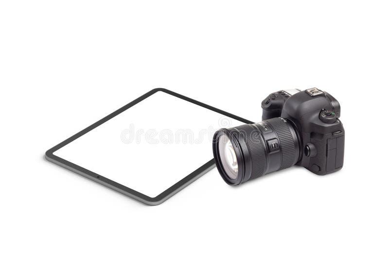 Цифровой планшет и графический элемент камеры DSLR стоковое изображение rf