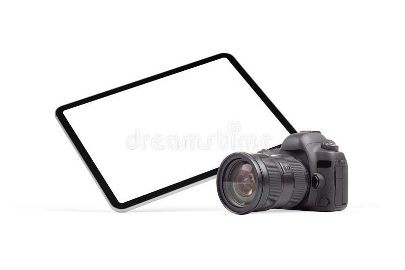 Цифровой планшет и графический элемент фотокамеры DSLR стоковое фото rf