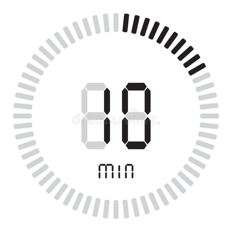 Цифровой таймер 10 минут электронный секундомер с шкалой градиента начиная значок вектора, часами и вахтой, таймером, комплексом  бесплатная иллюстрация