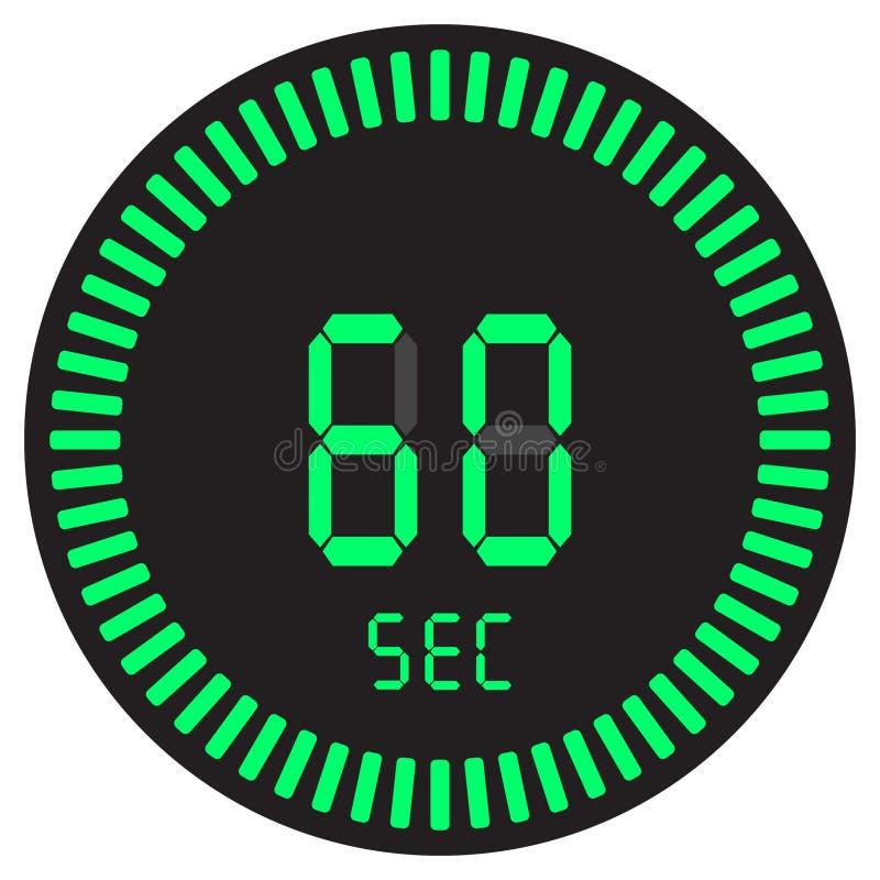 Цифровой таймер 60 секунд, 1 мельчайший, электронный секундомер при шкала градиента начиная значок вектора, часы и вахта, таймер иллюстрация вектора