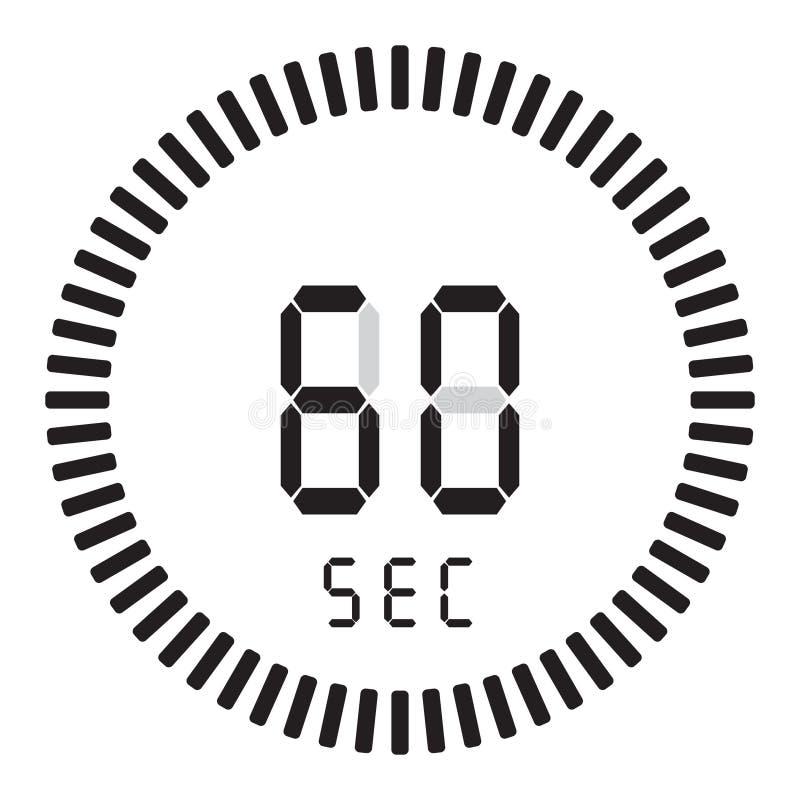 Цифровой таймер 60 секунд, 1 минута электронный секундомер при шкала градиента начиная значок вектора, часы и вахту, таймер иллюстрация штока
