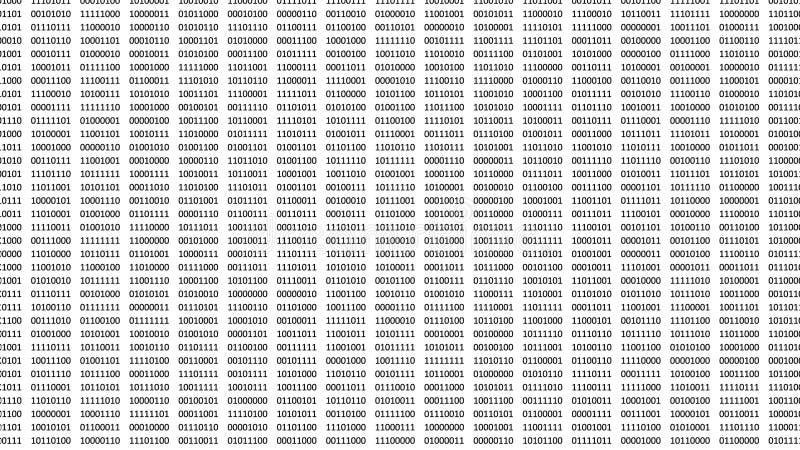 Цифровые биты и байты на белом экране компьютера бесплатная иллюстрация